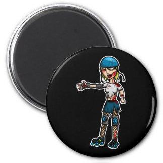 Zombie Derby Girl 2 Inch Round Magnet