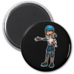 Zombie Derby Girl Refrigerator Magnets
