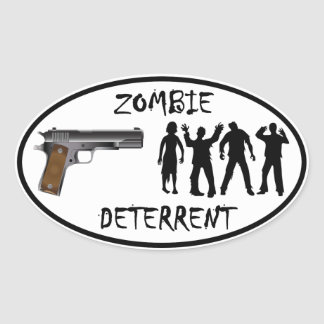 Zombie Deterrent Oval Sticker