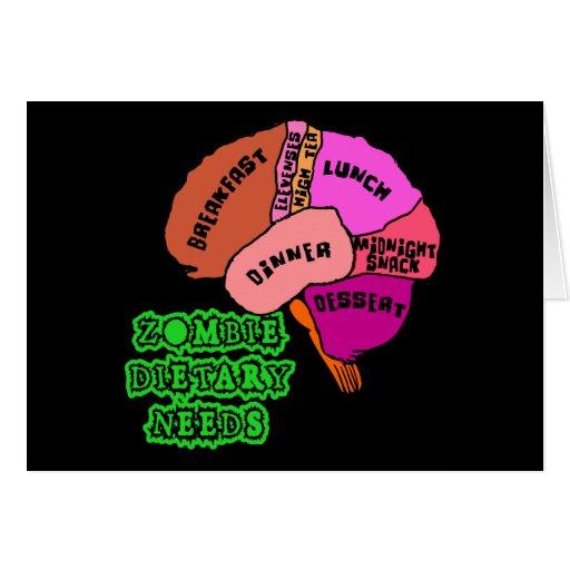 ZOMBIE DIETARY NEEDS: Brains! Tshirts Greeting Card