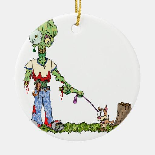 Zombie Dog Walker Christmas Tree Ornaments
