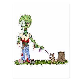 Zombie Dog Walker Postcard