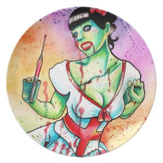 Zombie Doll Nurse Tattoo Flash Melamine Plate