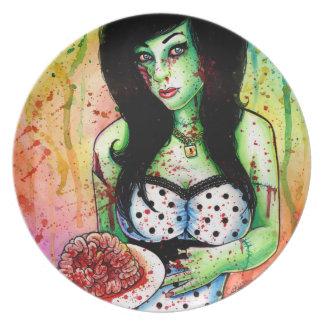 Zombie Doll Tattoo Flash Melamine Plate