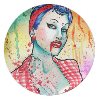 Zombie Doll Tattoo Flash Party Plates