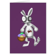 zombie easter bunny greeting cards