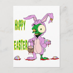 Bunny walking gifts on zazzle zombie easter holiday postcard negle Choice Image