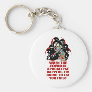 Zombie Eat You First Basic Round Button Keychain
