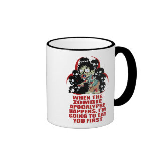 Zombie Eat You First Ringer Coffee Mug