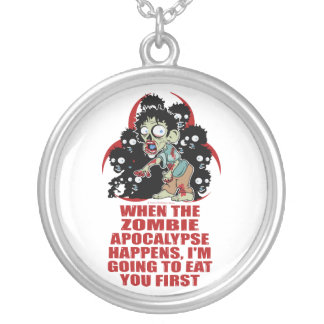 Zombie Eat You First Round Pendant Necklace