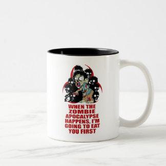 Zombie Eat You First Two-Tone Coffee Mug