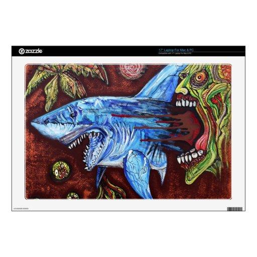 Zombie Eats Shark Laptop Skins