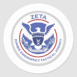 Zombie Emergency Tactical Agency Logo/Seal Round Stickers