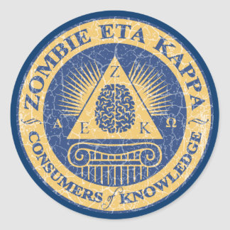 Zombie Eta Kappa Classic Round Sticker