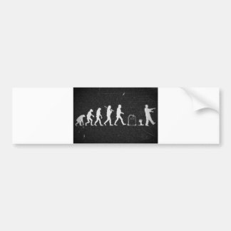 zombie evolution from monkey to human to zombie car bumper sticker