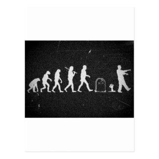 zombie evolution from monkey to human to zombie postcard
