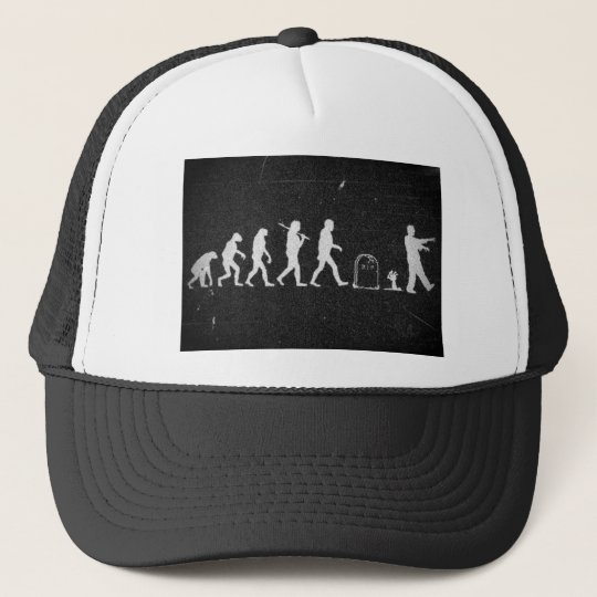 zombie evolution from monkey to human to zombie trucker hat