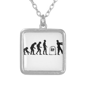 ZOMBIE EVOLUTION SILVER PLATED NECKLACE