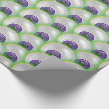 Halloween Themed Zombie Eyeball Stew Purple Green Halloween Wrapping Paper