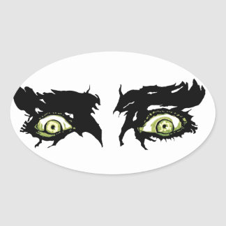 ZOMBIE EYES - Scary Roguish Eyes Oval Sticker