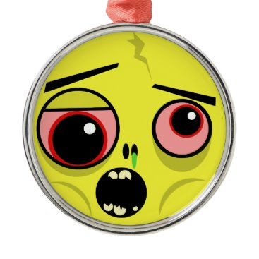 Zombie Face Metal Ornament