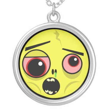 Zombie Face Silver Plated Necklace