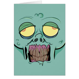 Zombie Face with a Toothy Grin Card