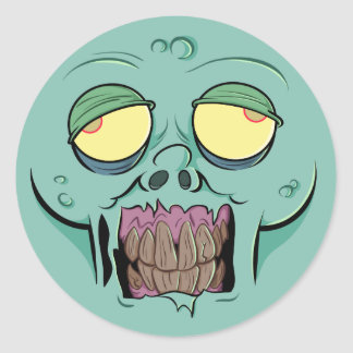 Zombie Face with a Toothy Grin Classic Round Sticker