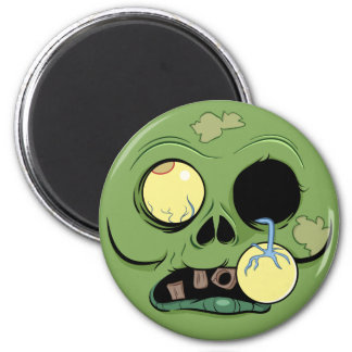 Zombie Face with Eye Popping Out 2 Inch Round Magnet