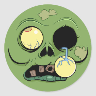 Zombie Face with Eye Popping Out Classic Round Sticker