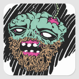 zombie faced goods.jpg square sticker