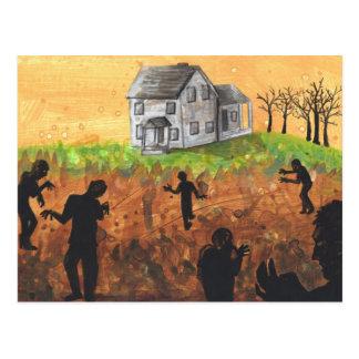 Zombie Farm silhouette dark art horror postcard