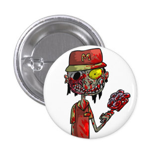 Zombie Fast-Food Worker Button