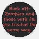 Zombie flu (sq) classic round sticker