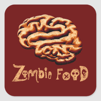 Zombie Food Brains Halloween Labels Haunted House Square Sticker