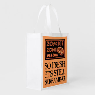 Zombie Food So Fresh Still Screaming Halloween Reusable Grocery Bag