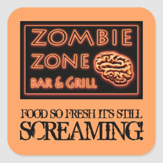 Zombie Food So Fresh Still Screaming Halloween Square Sticker
