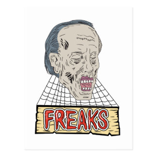 Zombie Freaks Cobwebs Drawing Postcard