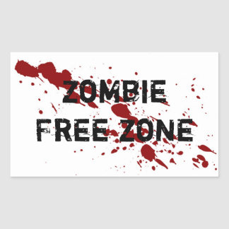 Zombie Free Zone Rectangular Sticker