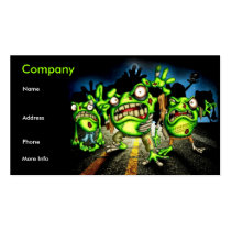 zombie, zombies, undead, un dead, frog, frogs, tree frog, ribbit, horror, living dead, movies, road kill, halloween, evil, cartoon, dark, side, reptile, reptiles, toad, Business Card with custom graphic design