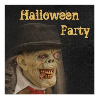 Zombie Gentleman & Cigar Halloween Double Sided Announcement