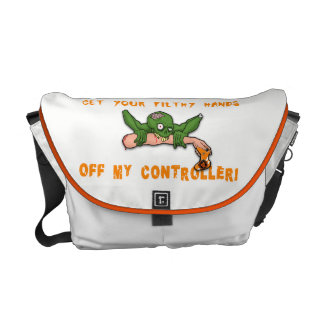 Zombie Get Your Hands Off My Controller White Courier Bag