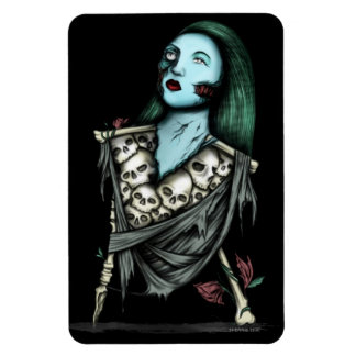 Zombie Ghoul and Skulls Rectangular Photo Magnet