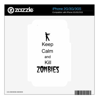 Zombie Gift Keep Calm and Kill Zombies Skin For iPhone 3GS