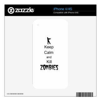 Zombie Gift Keep Calm and Kill Zombies iPhone 4 Decal
