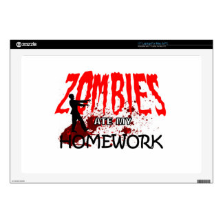 """Zombie Gift Zombies Ate My Homework 17"""" Laptop Decal"""