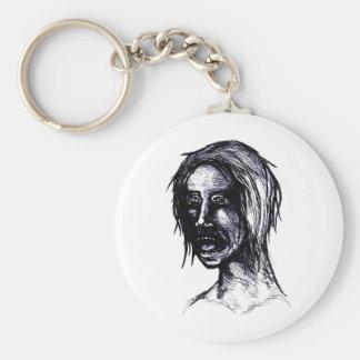 Zombie Girl Basic Round Button Keychain