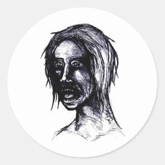 Zombie Girl Classic Round Sticker