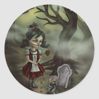 Zombie Girl Finds True Love in a Graveyard Classic Round Sticker