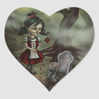 Zombie Girl Finds True Love in a Graveyard Heart Sticker